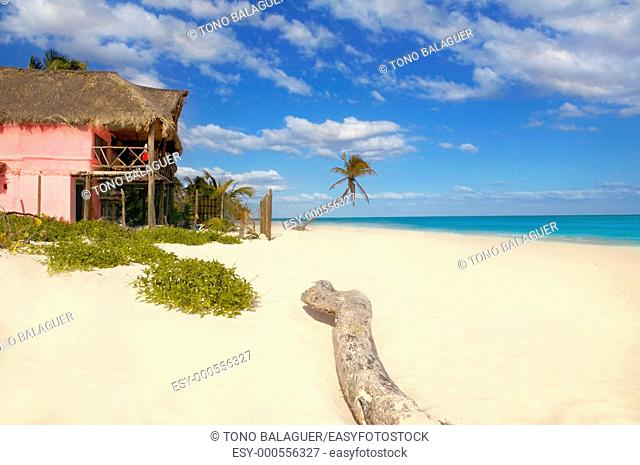 Caribbean sand beach tropical houses in Mexico mayan riviera