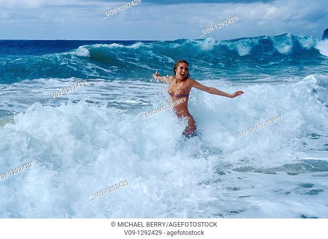 Woman on the beach, Kauai, Hawaai