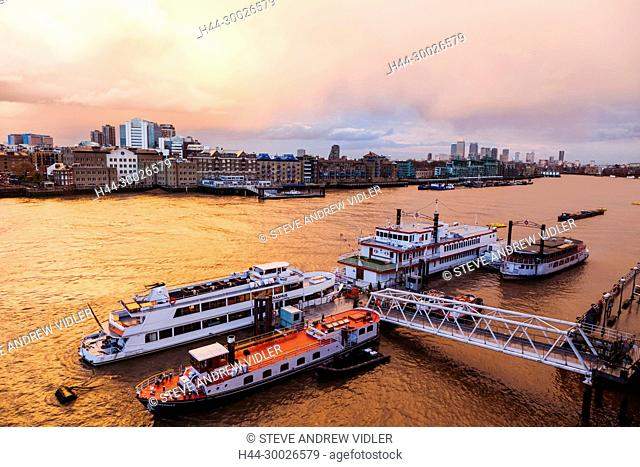 England, London, River Thames and Docklands Skyline