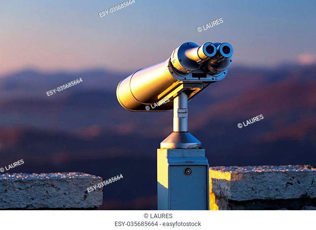 Stationary binoculars mounted on a mountain Akhun in Sochi. Russia