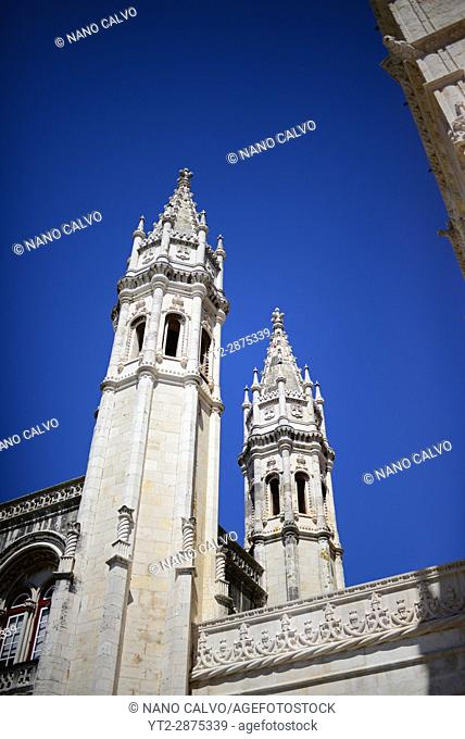 The Jeronimos Monastery or Hieronymites Monastery (The Mosteiro dos Jeronimos), a former monastery of the Order of Saint Jerome near the Tagus river in the...