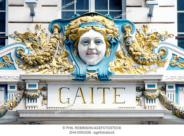 Brussels, Belgium. Thétre de la Gaîté at rue du Fossé aux Loups 18. Founded 1912 by L Berryer. Mascaron and facade detail