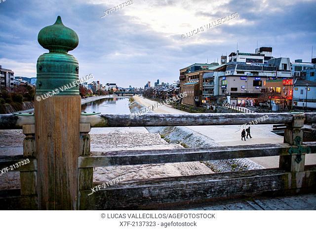 Kamo river and Pontocho from Bridge in Sanjo-Ohashi,Kyoto, Japan