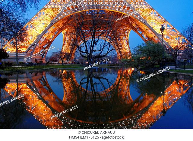 France, Paris, Eiffel Tower night lighting of the Eiffel Tower by Pierre Bideau, reproduction rights