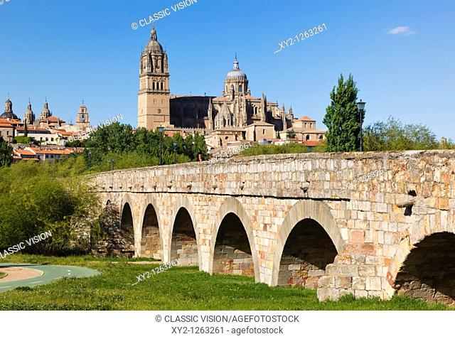 Salamanca, Salamanca Province, Spain  Cathedral seen beyond Roman bridge over Tormes River