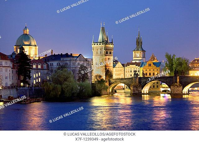 Old town and Vltava River , as seen from Malá strana  At right Charles Bridge Prague  Czech Republic