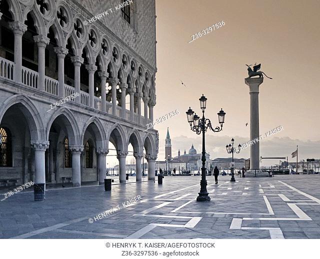 St Marks Square and church San Giorgio Maggiore before sunrise, Venice, Italy