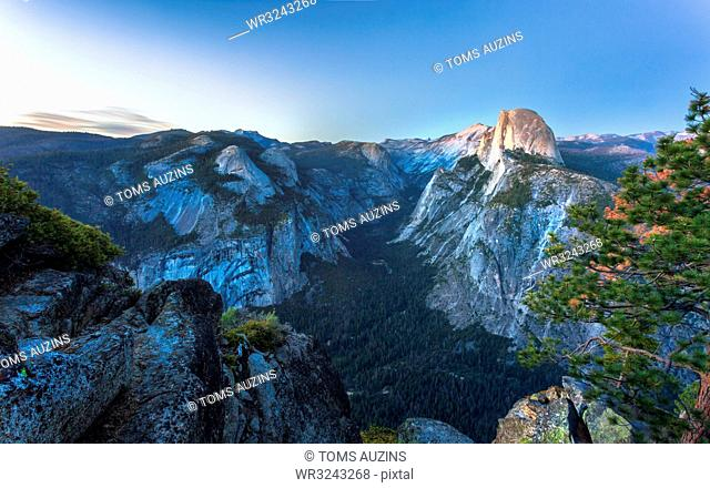 Half Dome and Yosemite Valley viewed from Glacier Point at dusk, Yosemite National Park, UNESCO World Heritage Site, California, United States of America
