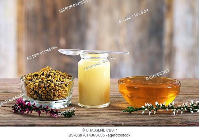 pollen flowers, royal jelly and honey