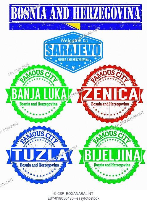 Bosnia and Herzegovina cities stamp