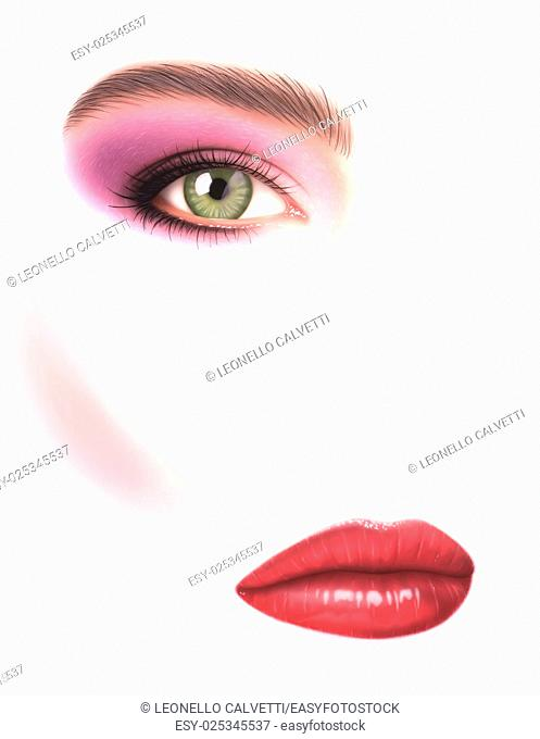 Beautiful woman, close-up of eye with make-up and mouth, on white