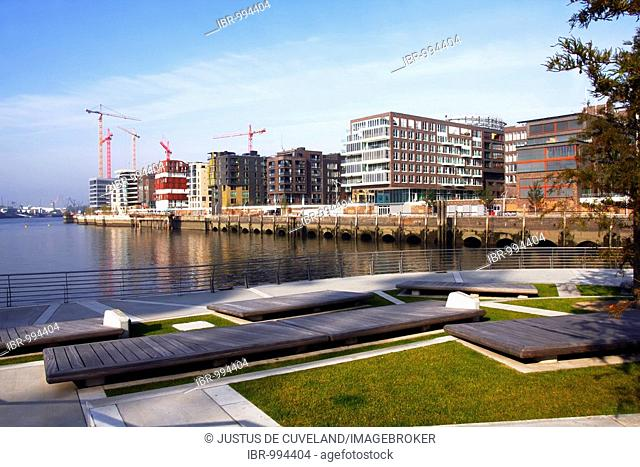 Hafencity or Harbor City on the Elbe River, modern luxury apartments and office buildings on the Marco-Polo-Terrassen, Grasbrookhafen, Hamburg Harbor, Germany