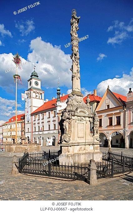 Baroque Marian Pillar and Town Hall on Masaryk Square, Trebon, Czech republic