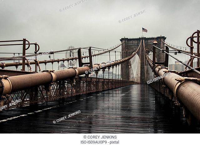 View of walkway on Brooklyn Bridge, New York, USA