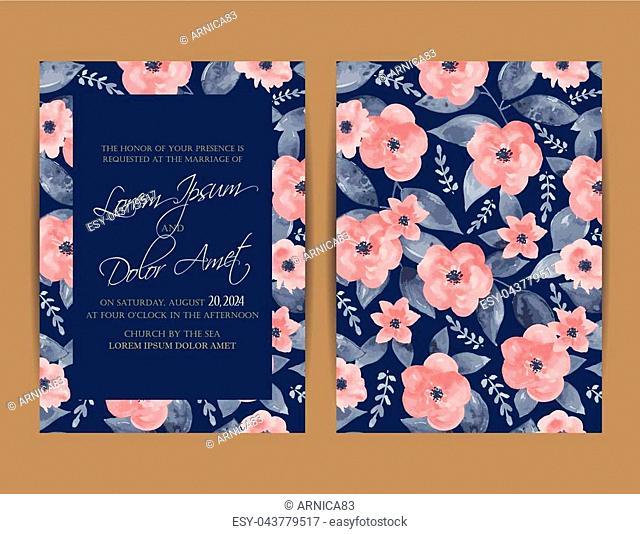 Wedding Invitation. Floral Background.Vintage Style
