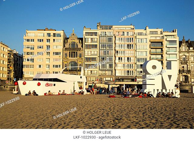 LOVE sculpture, beach bar and apartment buildings, Ostend, Flanders, Flemish Region, Belgium