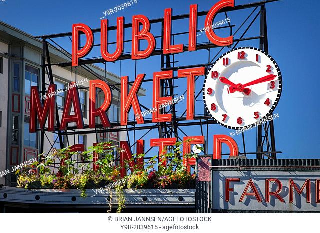 Pike Place Public Market (Farmers Market founded in 1907) near the waterfront in Seattle Washington, USA