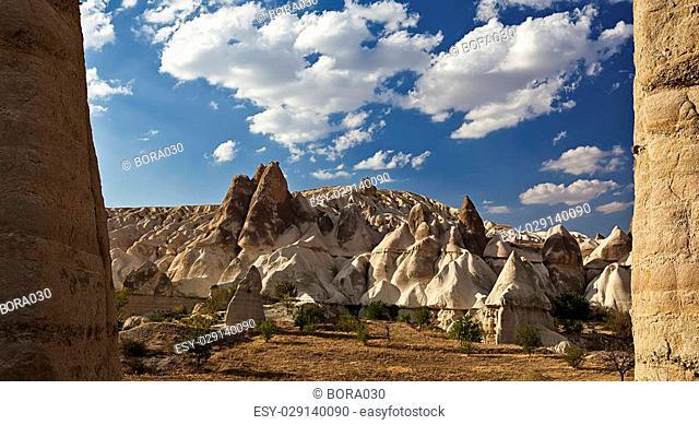 Formation of stone pillars in the desert in Cappadocia, Turkey