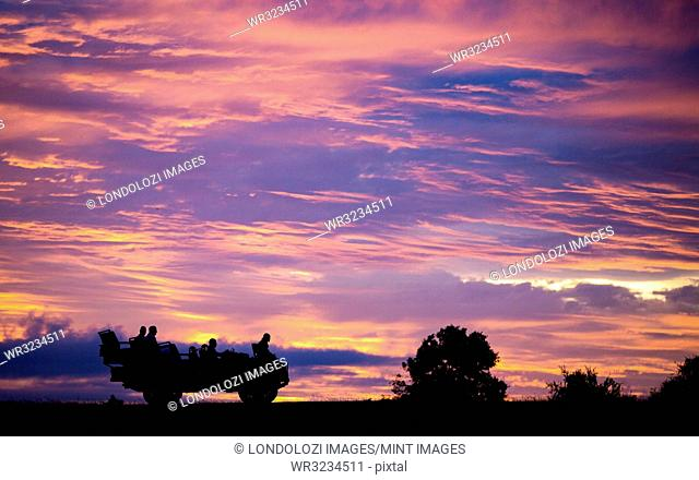 A silhouette of the side profile of people sitting in a Land Rover against pink, purple and yellow sunset sky