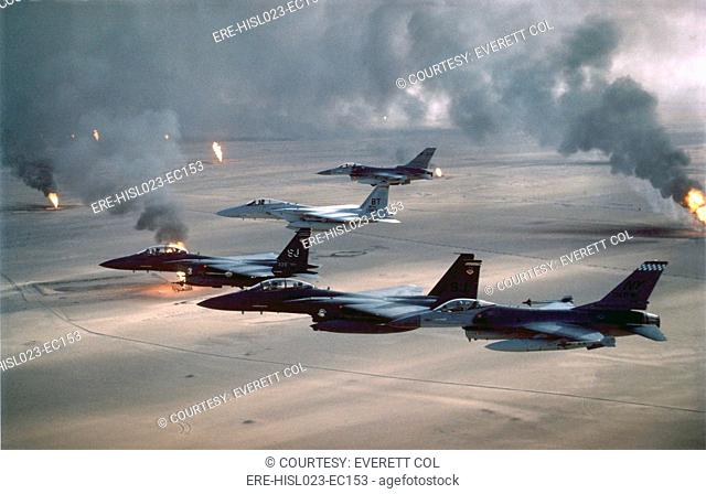 U.S. Air Force fighters patrol the no-fly zone over Iraq. After the First Gulf War in 1991 U.S. and Allied forces began Operation Southern Watch on Aug