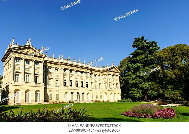 Villa Reale, Milan, view of beautiful neoclassic palace and its park in Milan city center, shot in bright summer light from City Council garden