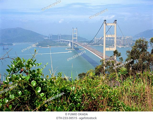 Overlooking Tsing Ma Bridge from Tsing Yi trail, Hong Kong