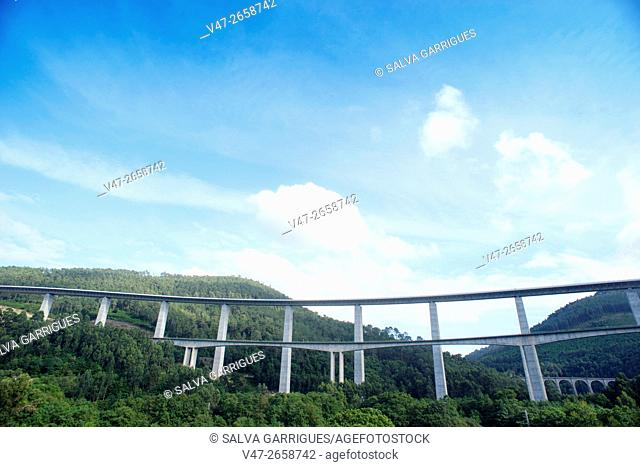 Photographs of Highway 7 passing by Cudillero, Asturias, Spain, Europe