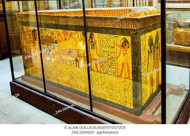 Egypt, Cairo, Egyptian Museum, from the tomb of Sennedjem, Deir el Medina : Sarcophagus of Khonsu, on its removable sledge
