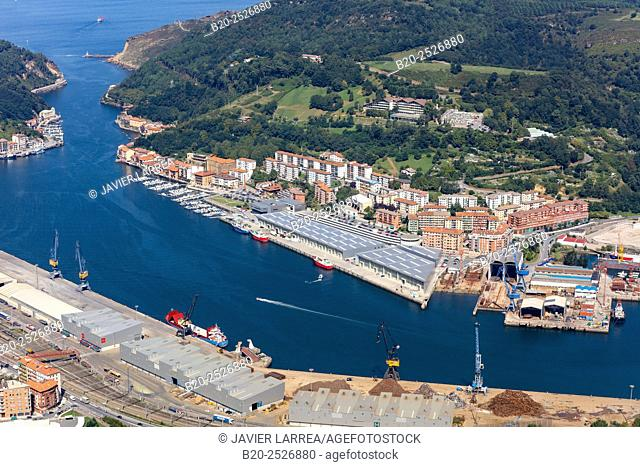 Aerial view, Port of Pasajes, Gipuzkoa, Basque Country, Spain