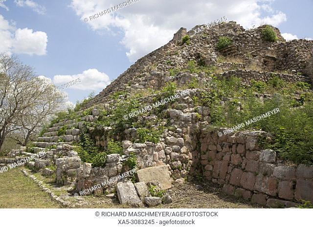 Mayan Ruins, Pyramid MA-1, Oxkintok Archaeological Zone, 300 -1,050 AD, Yucatan, Mexico