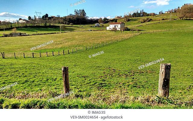 Robín meadows in Lieres village, Siero municpality, Asturias, Spain