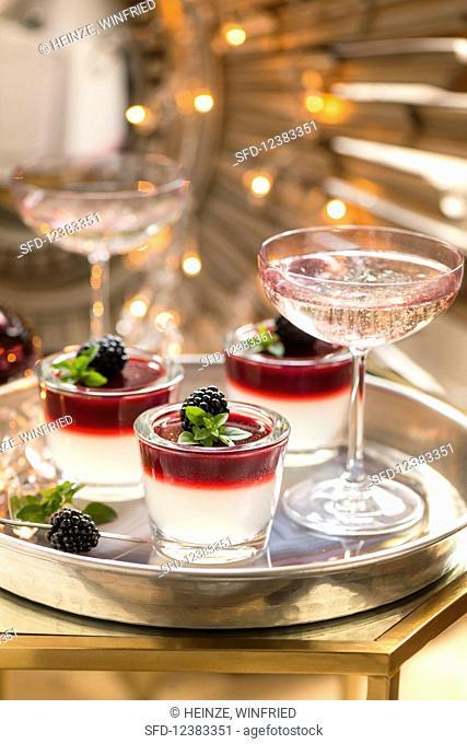 Blackberry and vodka jelly shots