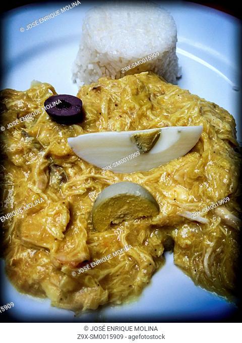 Peruvian food.Aji de gallina.Traditional dish