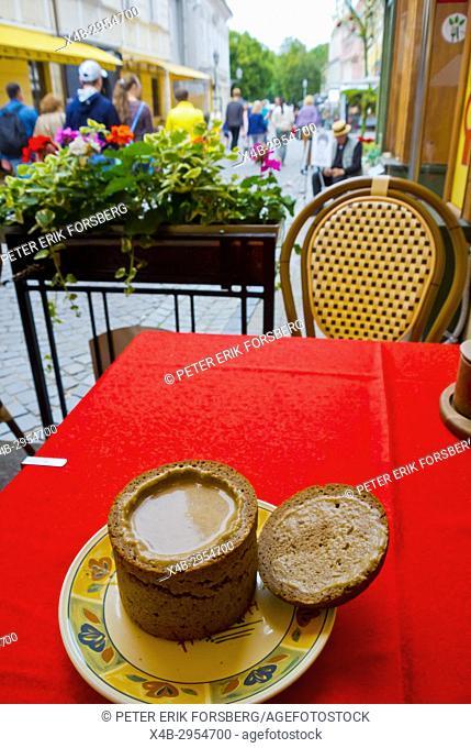 Mushroom soup, served inside dark rye bread bowl, restaurant, Pilies gatve, old town, Vilnius, Lithuania