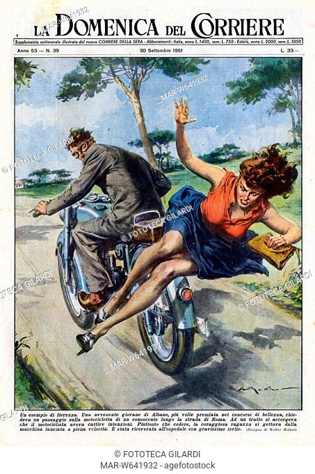 ITALIA 1951 'Un esempio di fierezza' Copertina della Domenica del Corriere illustrata da W. Molino (1915 ? 1997). La notizia riguarda un episodio di cronaca