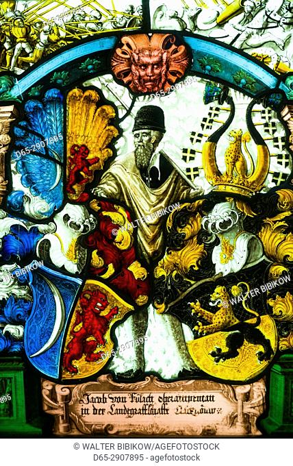USA, New York, Finger Lakes Region, Corning, Corning Museum of Glass, Panel of the arms of Esher von Glas, Swiss, 1510