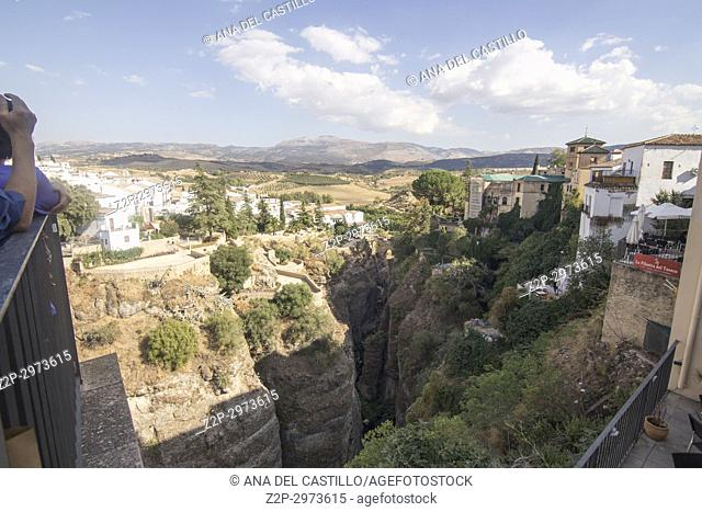 Panorama from viewpoint in Ronda, Andalusia, Spain