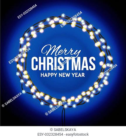 Round frame with glowing lights, garlands of blue with the words Merry Christmas.. Background on sale, discounts, promotions in the winter