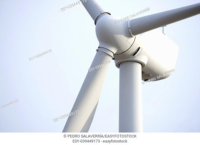 Windmill for electric power production, Pozuelo de Aragon, Zaragoza, Aragon, Spain