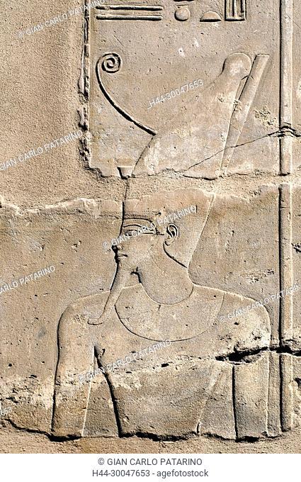 Luxor, Karnak, Egypt.Temple of Karnak sacred to god Amon: the king wearing the crown Pscent