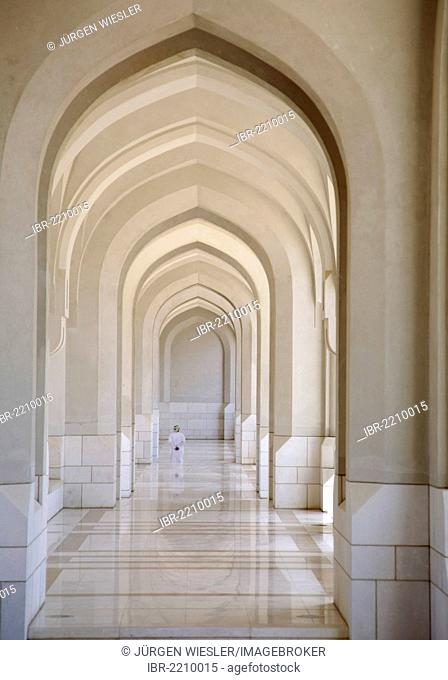 Portico, Sultan Qaboos Grand Mosque, Muscat, Oman, Middle East, Asia