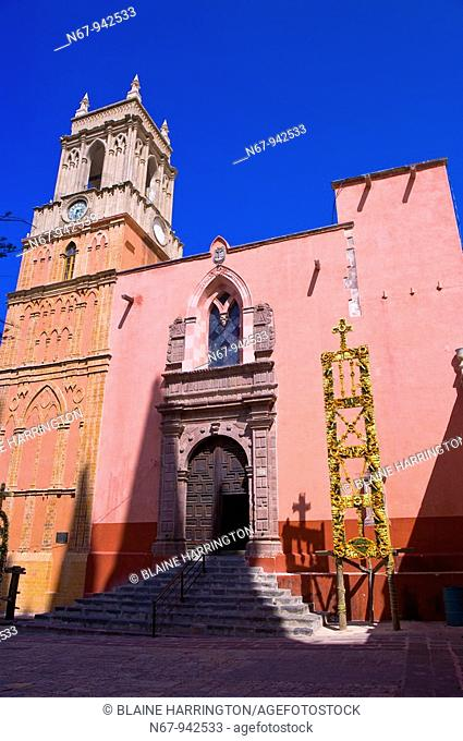 The Church of St  Michael the Archangel decorated with marigolds for La Alborada birthday of San Miguel the Archangel, the patron saint of the town