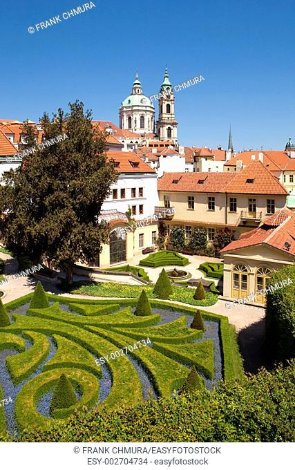 czech republic, prague - 18th century vrtba garden vrtbovska zahrada and st  nicholas church