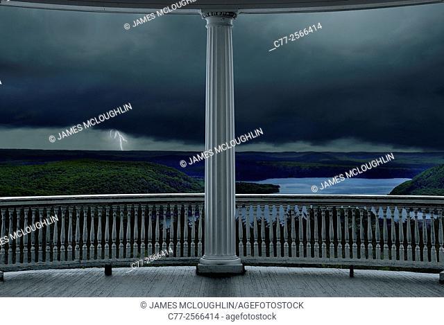 porch, lightning, storm