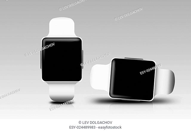 modern technology, object and media concept - smart watches with black blank screen over gray background
