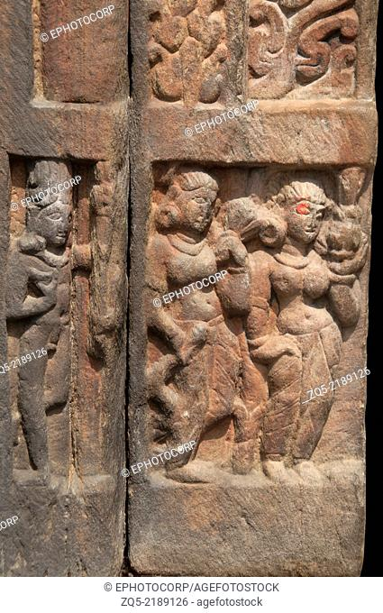 Figures carved on one of the Jageshwar temple. Almora district, Uttarakhand, India
