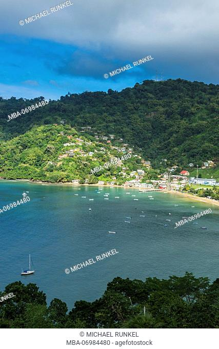 Overlook over the bay of Charlotteville, Tobago, Trinidad and Tobago, Caribbean