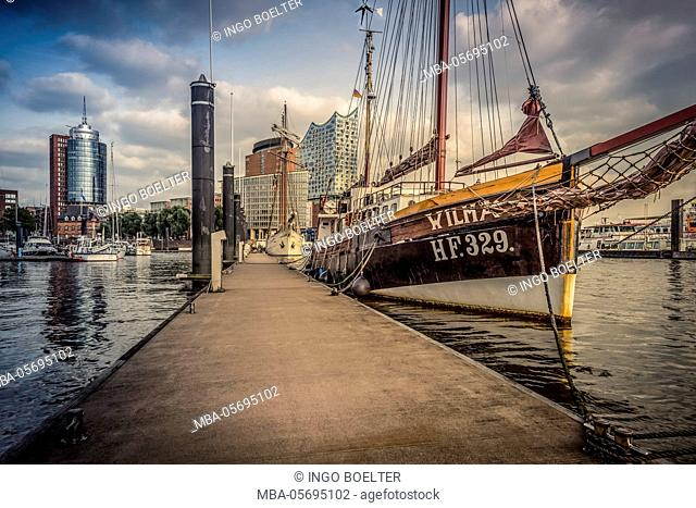 Germany, Hamburg, harbour, yacht harbour, the Elbe, sailing ship