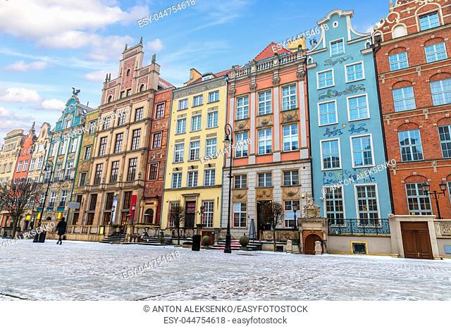 Colourful buildings in the european street of Gdansk, Long Market
