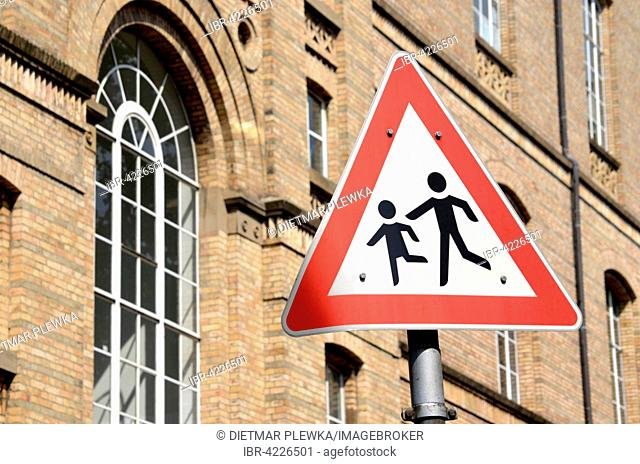 Road sign, warning, children playing, Germany